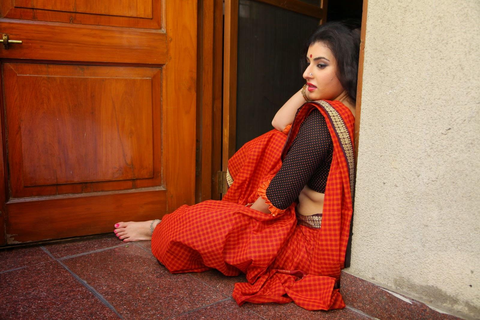 Archana (Veda) Hot Photos in Red Saree from Kamalatho Na ...