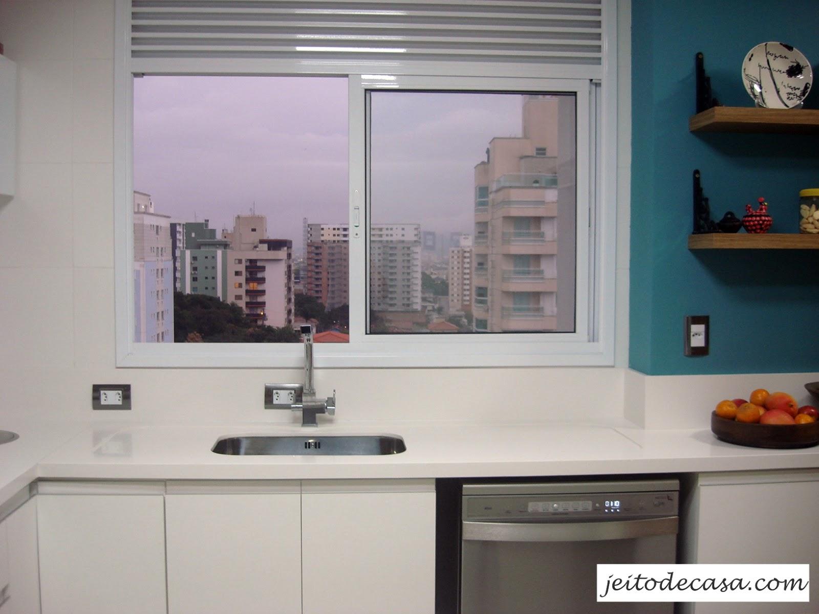 Cozinha branca de apartamento minha cozinha! Jeito de Casa Blog  #294E5B 1600 1200