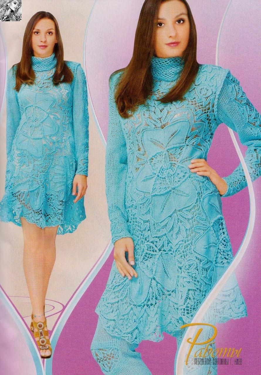 Вязание крючком платья дуплет