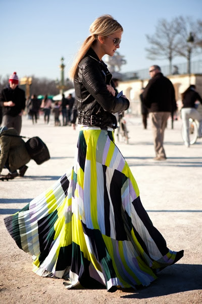 Long colorful skirt with leather jacket