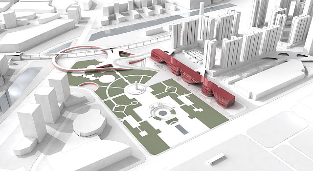 3D visualization of new cultural complex and its location in the city