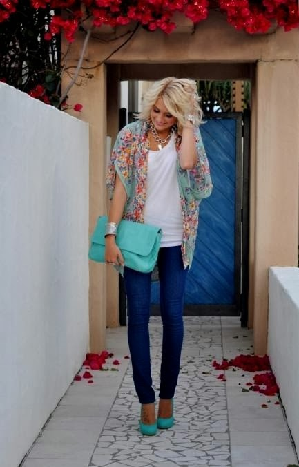Tiffany blue, white shirt, skinnies, neutrals and handbag