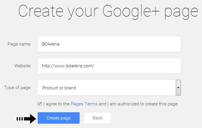 create Google+ page