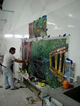 Ruben Sassano,  trabajando para el Mural de la Memoria en La Republica de  Mataderos