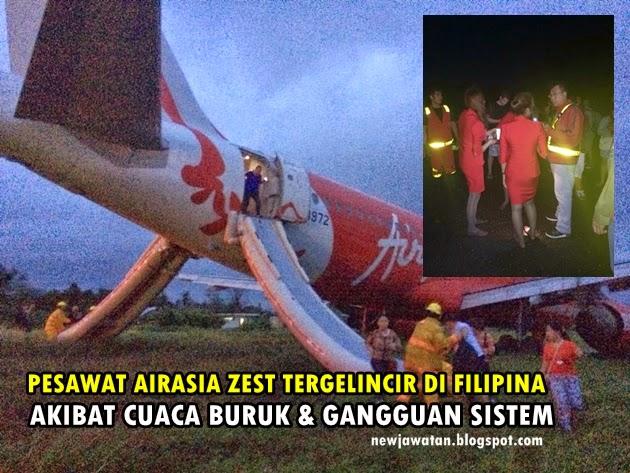 Pesawat AirAsia Z2272 Pula Tergelincir di Filipina Petang 30.12.2014 (8 Gambar)