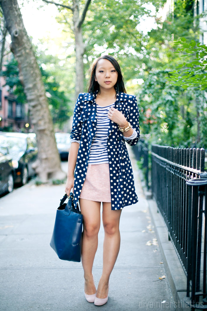 zara tweed mini skirt, forever 21 polka dot trench, pattern mix, striped shirt, boutique nine quilo pumps, navy and pink,  fashion blog, new york street style, diya liu