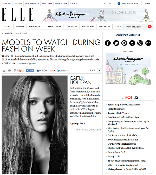 Caitlin Holleran - Elle.com - New York Fashion Week - Cast Images Model