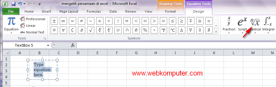 excel equation