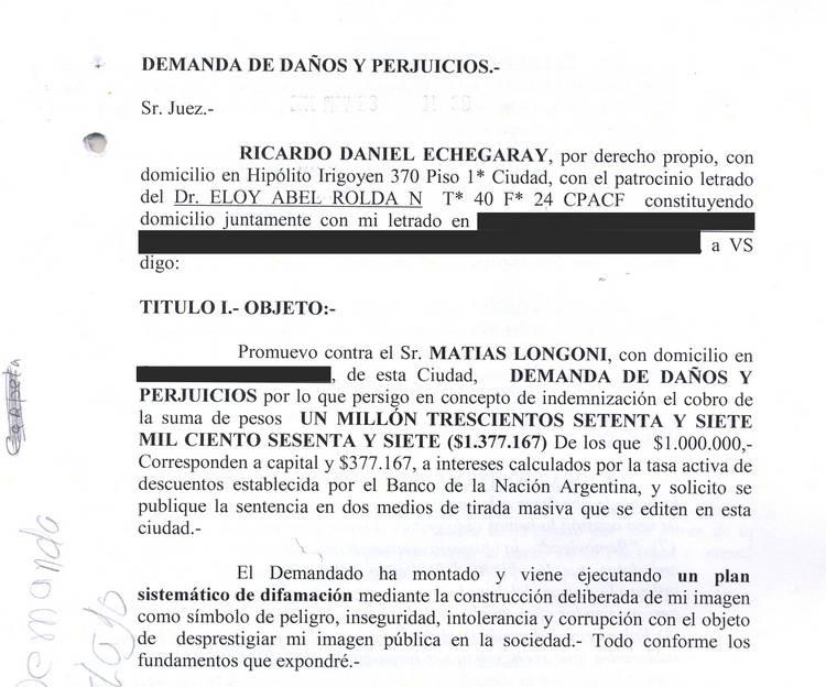formulario demanda danos perjuicios: