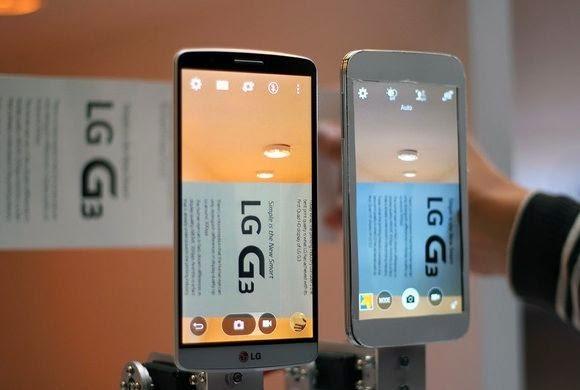 Comparativo com o Samsung Galaxy S5 (à direita) mostra o sistema de foco a laser do G3