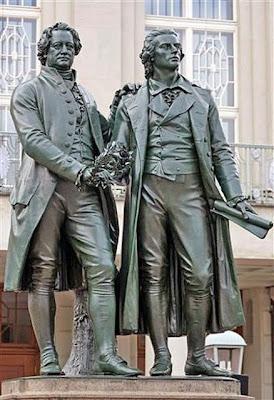 Goethe Schiller standbeeld in Weimar