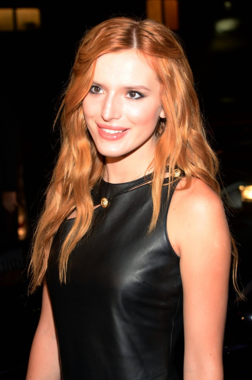 Bella Thorne in a leather dress at the Versus Versace Spring 2015 New York Fashion Week Show