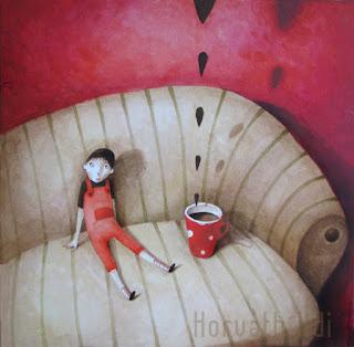 fiú kanapén kakaót iszik, kakaó felhők szállnak fel, piros, barna, boy drinking chocholate, brown red, illustration for a poem, painting