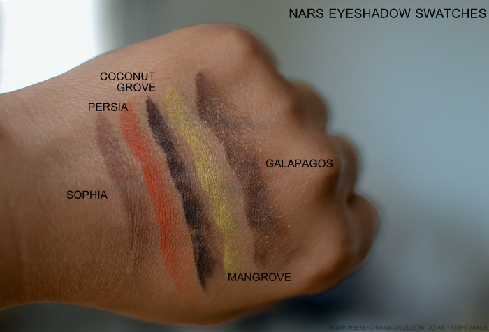 NARS Eyeshadows Sophia Persia Coconut Grove Mangrove Galapagos Swatches Indian Makeup Beauty Blog