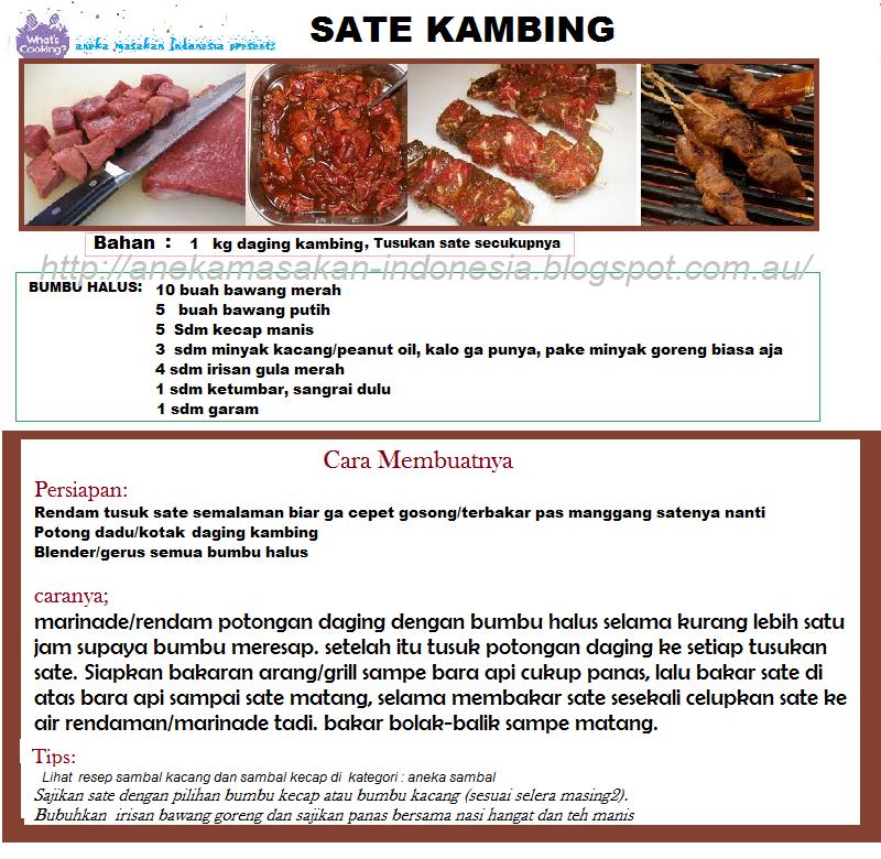 Aneka Masakan Indonesia | Indonesian Food: SATE KAMBING