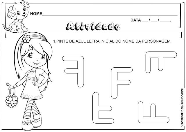 Atividade Letra F Personagem Framboesa para Colorir