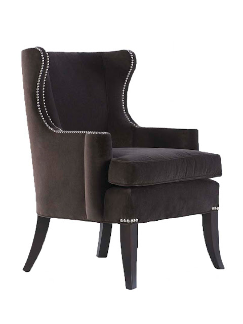 Small wingback chair with cabriole wood legs. Nail head trim