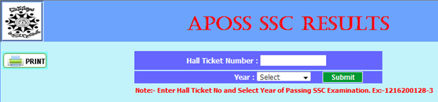 aposs ssc results display page