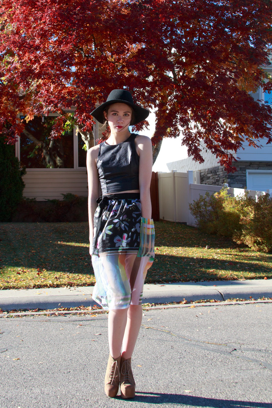 fall fashion, clover canyon, sheer skirt, crop top, felt hat, litas, jeffrey campbell, calgary fashion, anthropologie, bohemian, fashion, style, outfit of the day, personal style