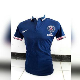 jual online kaos polo t shirt harga murah kaos t shirt polo Baju bola polo PSG warna navy terbaru musim 2015/2016