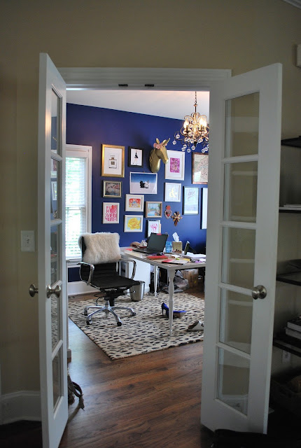 home office tour, gallery wall, leopard rug