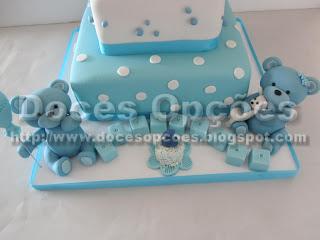 bolo ursinho azul