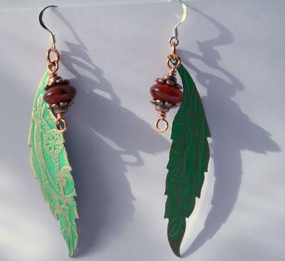 Sylvana: brass, sterling silver, copper, carnelian, etching, OOAK earrings :: All Pretty Things