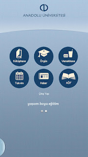 Anadolu Üniversitesi Android Uygulaması Ana Menü 1