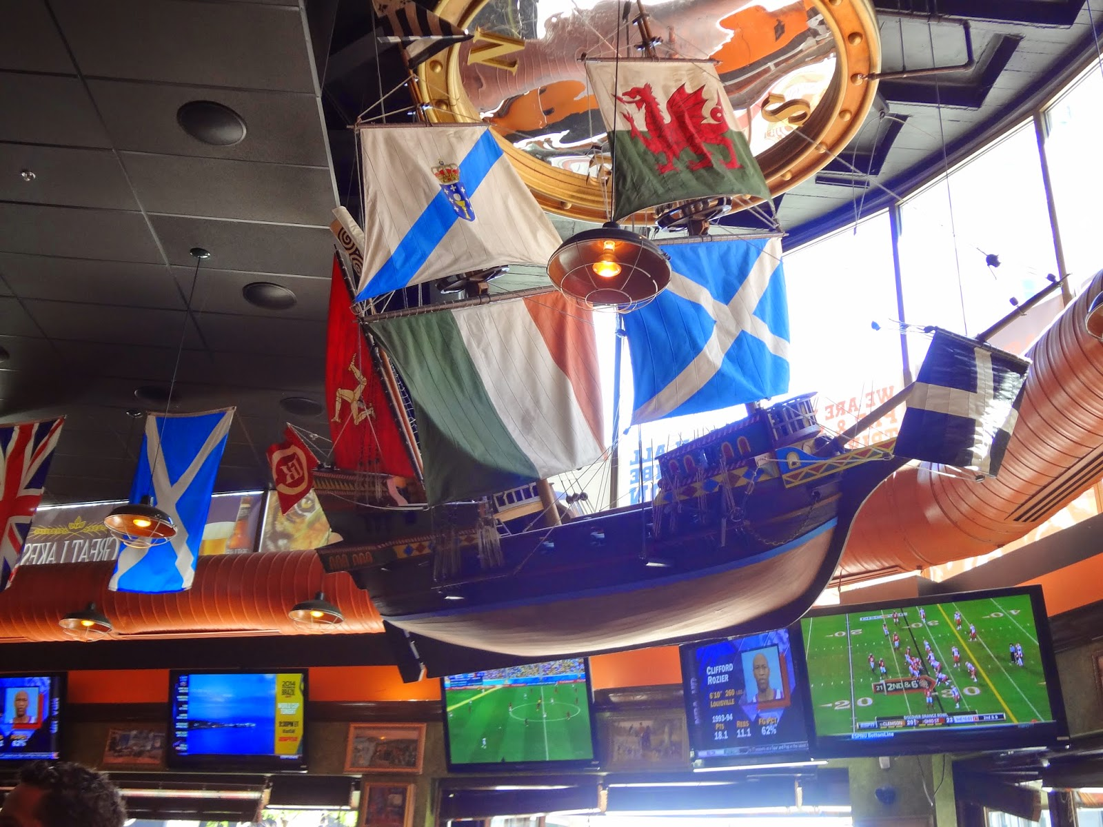 ship hanging in the tilted kilt pub and eatery