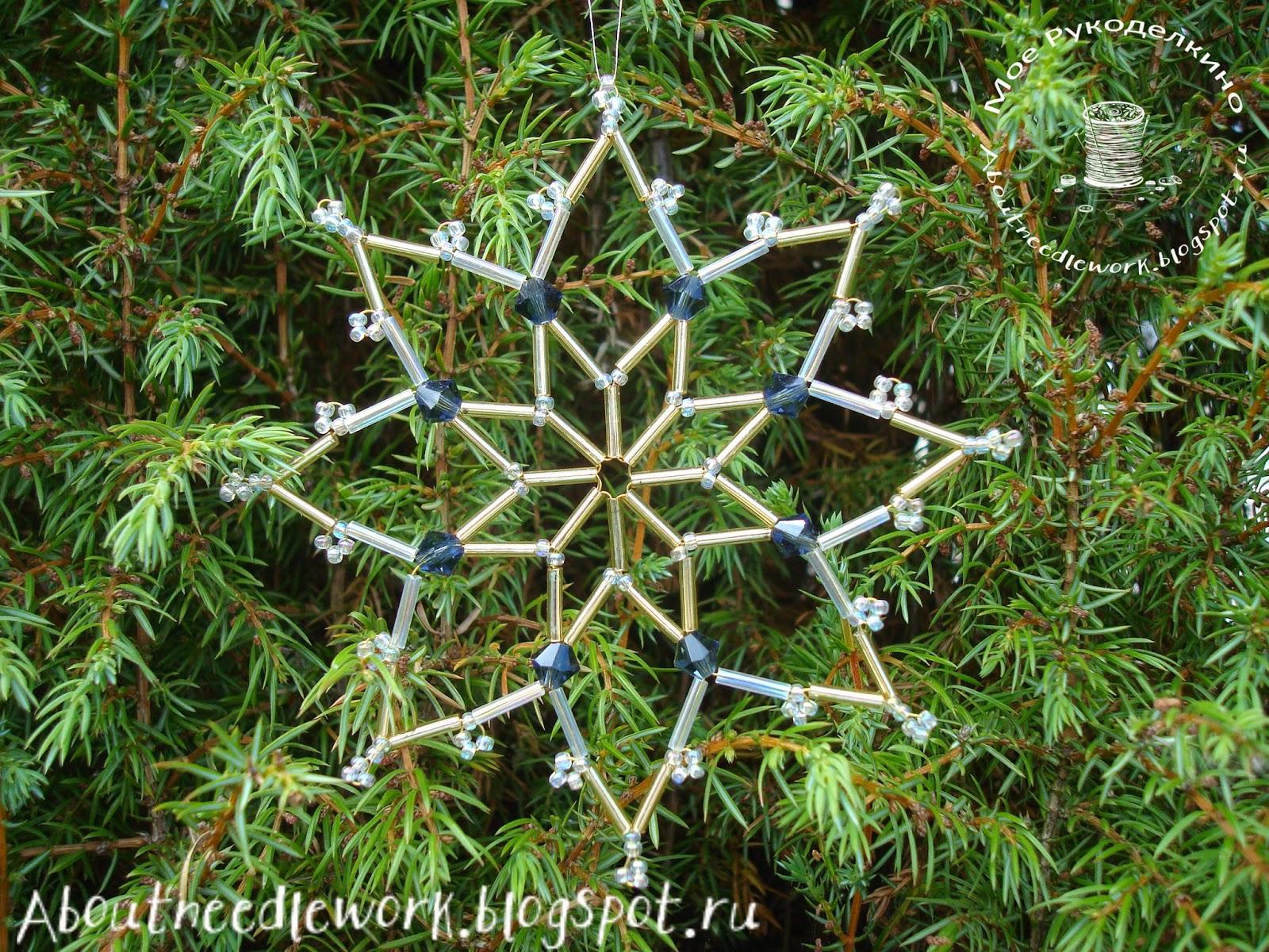Плетение снежинки из бисера и бусин