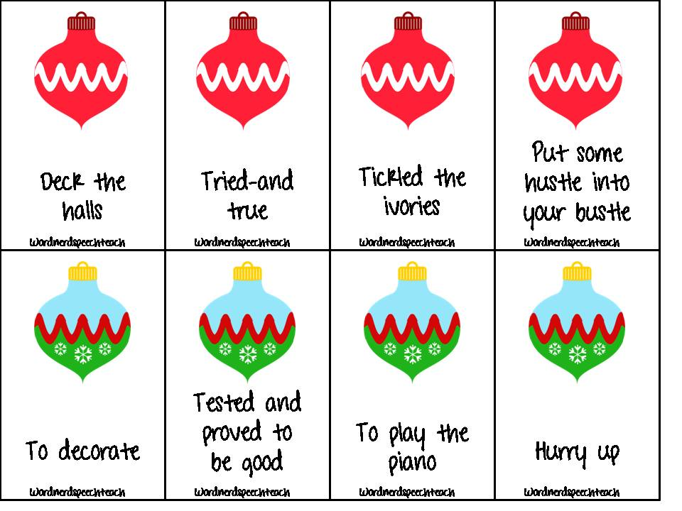 word nerd speech teach mooseltoe a literature based activity pack and a free therapy idea - Christmas Idioms