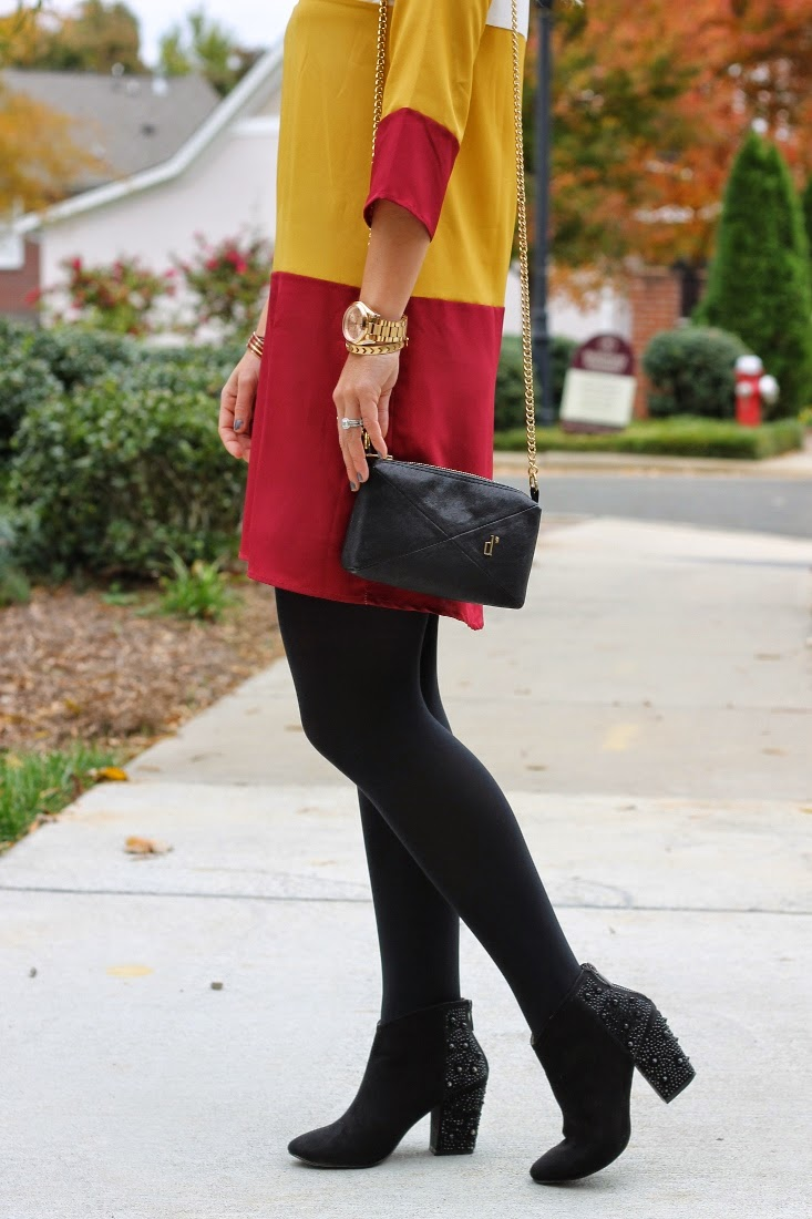 color block garnet and gold dress