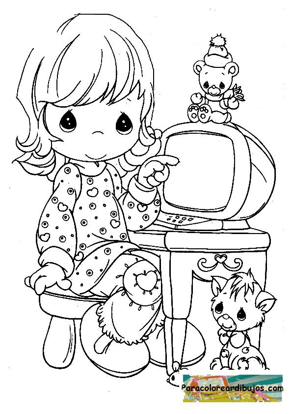 niña con ordenador para colorear | Colorear dibujos