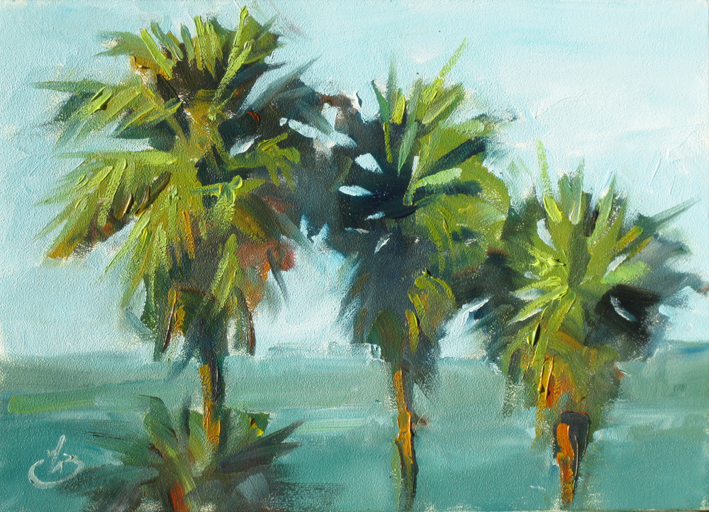 Palette knife painters california palm trees 5x7 ocean for Palm tree painting