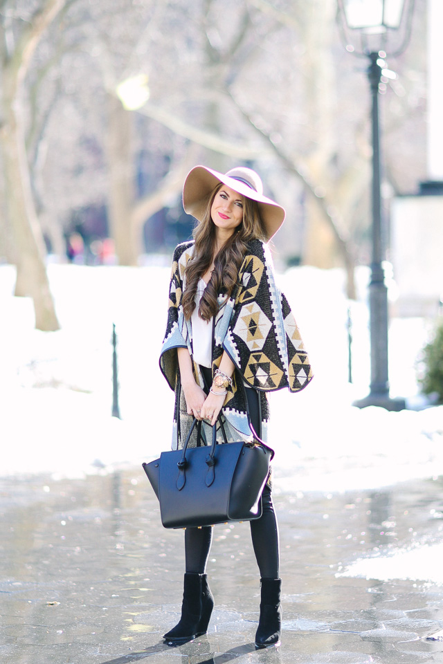 patterned cardigan and Celine handbag