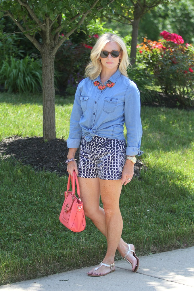 chambray shirt, J.Crew, Tory Burch, Ralph Lauren, gold sandals, elizabeth and james, jcrew factory, Yuni Kelley designs, LosPhoto, Simply Lulu Style, lulu looks, style tips,