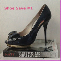 River Island navy peep-toes and Shatter Me by Tarereh Mafi