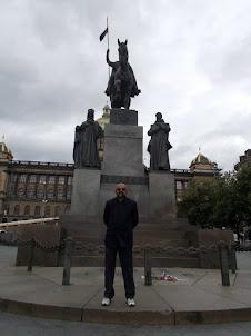 At St Wenceslas Square in Prague.