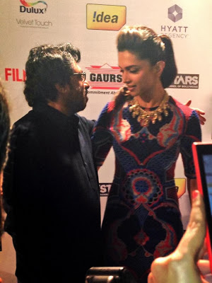 The ace director Sanjay Leela Bhansali and gorgeous, Deepika Padukone at the Filmfare Awards party