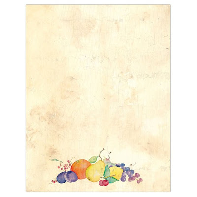 Crackled Fruit Fall Autumn Thanksgiving Border Paper
