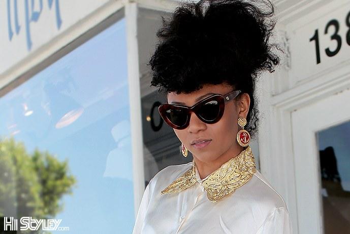 Emmanuelle Khanh vintage sunglasses on La Brae Street, LA