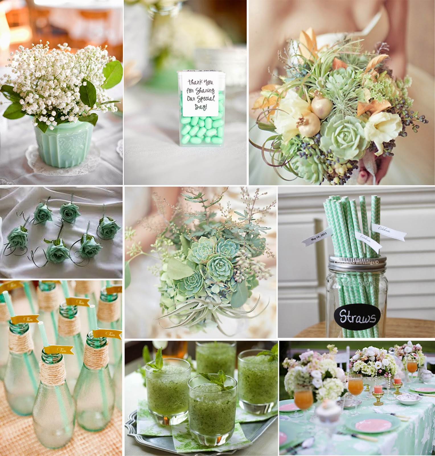 Mint Green And Grey Wedding Cakes