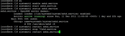 Enable , Disable , Start, Restart, Stop SSHD service - Fedora 16 Linux