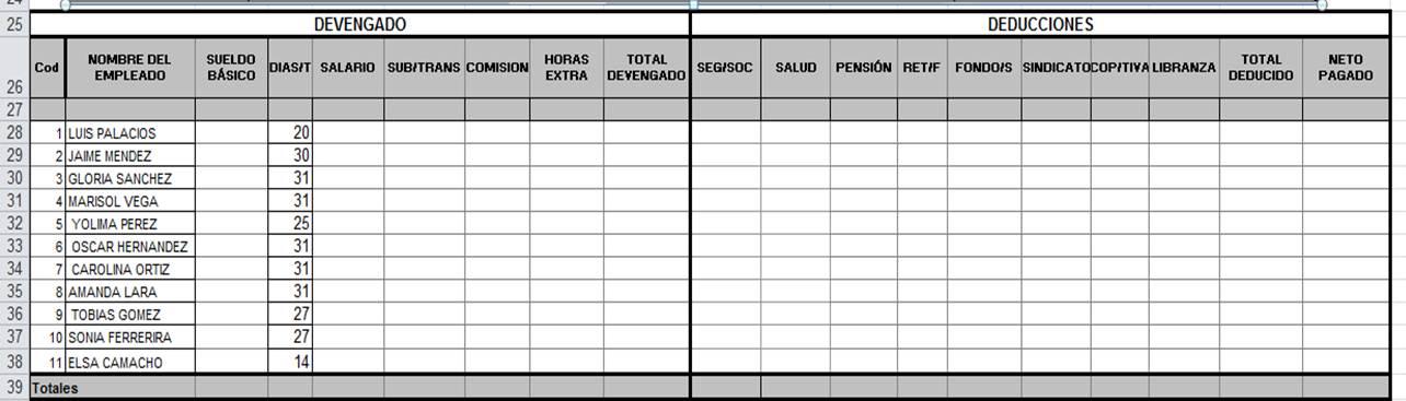 Uso pedag gico de las tic nomina 1 for Hoja nomina
