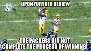 Upon Further review the packers did not complete the process of winning!