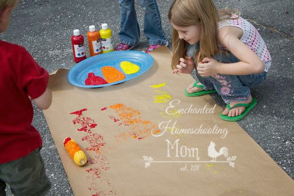 Corn Painting Fall Activity For Kids - Enchanted Homeschooling Mom