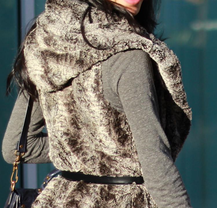 faux fur vest hoodie outfit idea layering