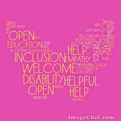 Inclusion word cloud by OneQuarterMama.ca