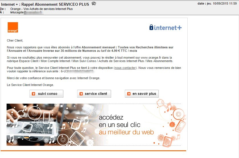 service internet plus orange active par defaut retrait sur facture