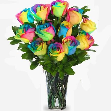 jual mawar pelangi / rainbow rose